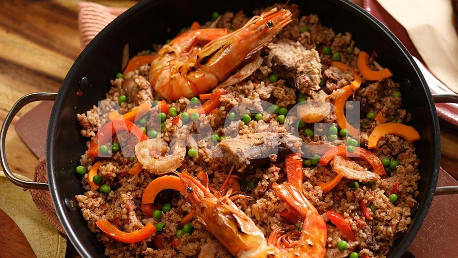 Riz brun aux crevettes & petits pois