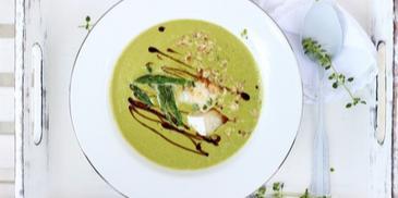 Zupa krem ze szparagów zielonych z grillowanym kozim serem i orzechami
