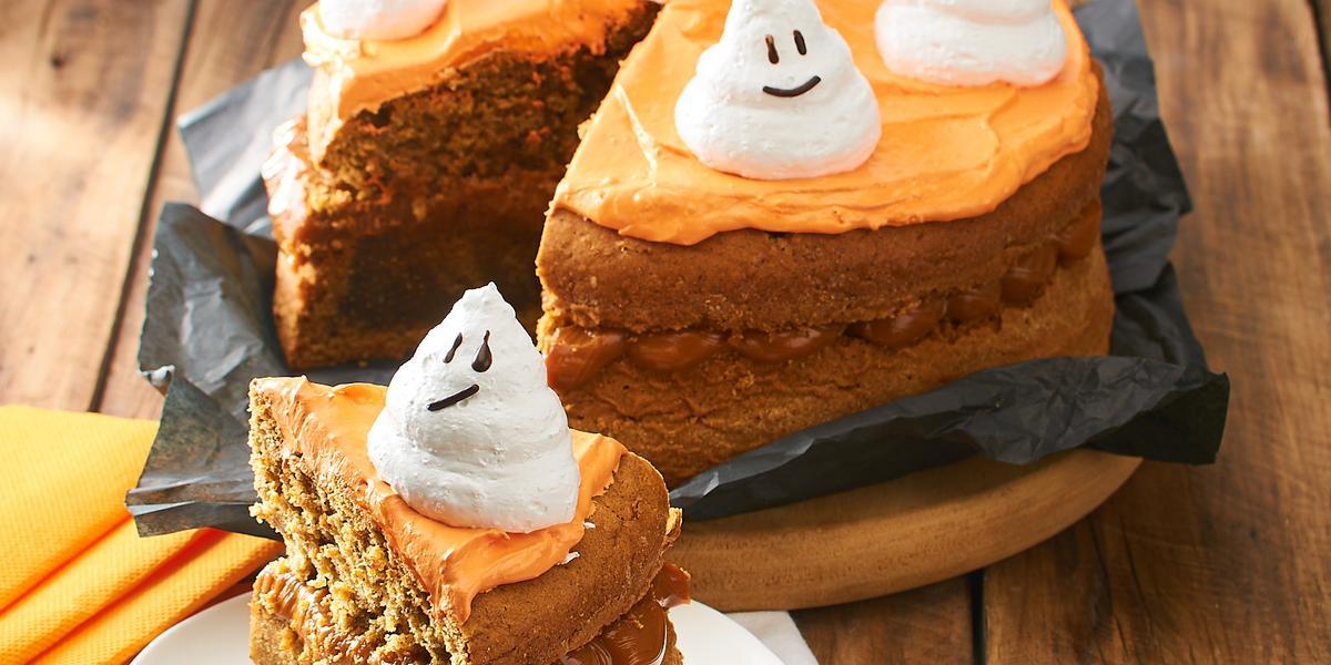 Torta de Zanahoria con Fantasmas Halloween