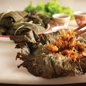 Glutinous Rice with scallops and mushrooms wrapped with Lotus Leaves