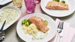 Lachs mit Brokkoli, Reis und Dill-Sauce aus dem Thermomix