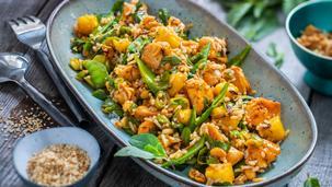 Reis-Hähnchensalat Thai-Style