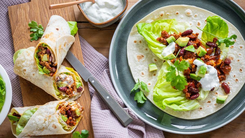 Chili-Wraps mit Avocado