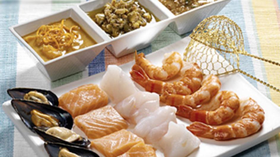 Fondue Bacchus mit Fisch und Meeresfrüchten