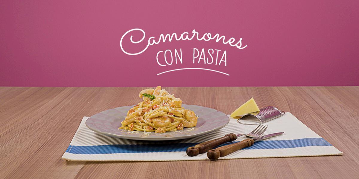 Camarones con pasta