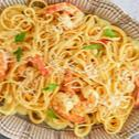 Shrimp with Creamy Saffron Fettuccine
