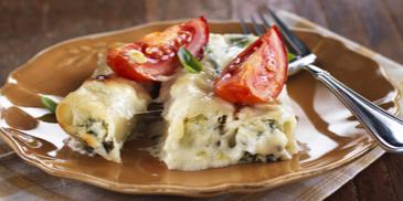 Spinach Cannelloni with Feta Cheese and Roasted Tomatoes