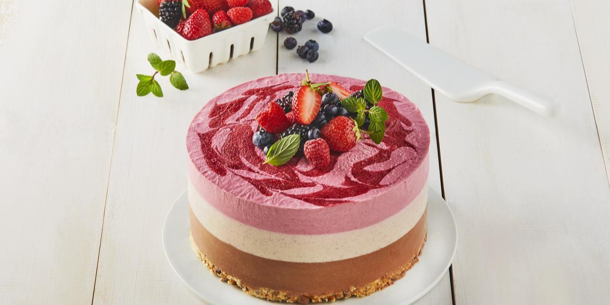 Pastel helado choco frambuesa