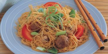 Rice Noodles with Lamb Meat Balls