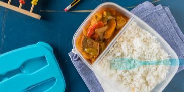Μοσχαράκι κοκκινιστό με λαχανικά και ρύζι μπασμάτι