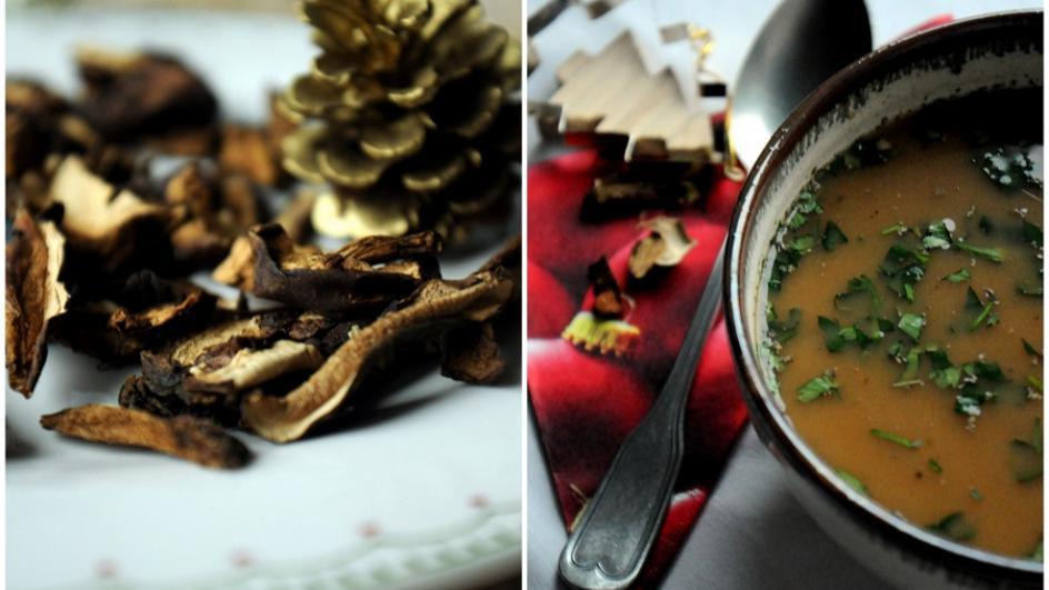 Zupa borowikowa na zakwasie z kiszonej kapusty