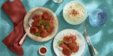 Kofta met tomatensaus en rijst