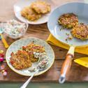 Süßkartoffel-Paprika-Rösti mit Cottagecheese-Dip