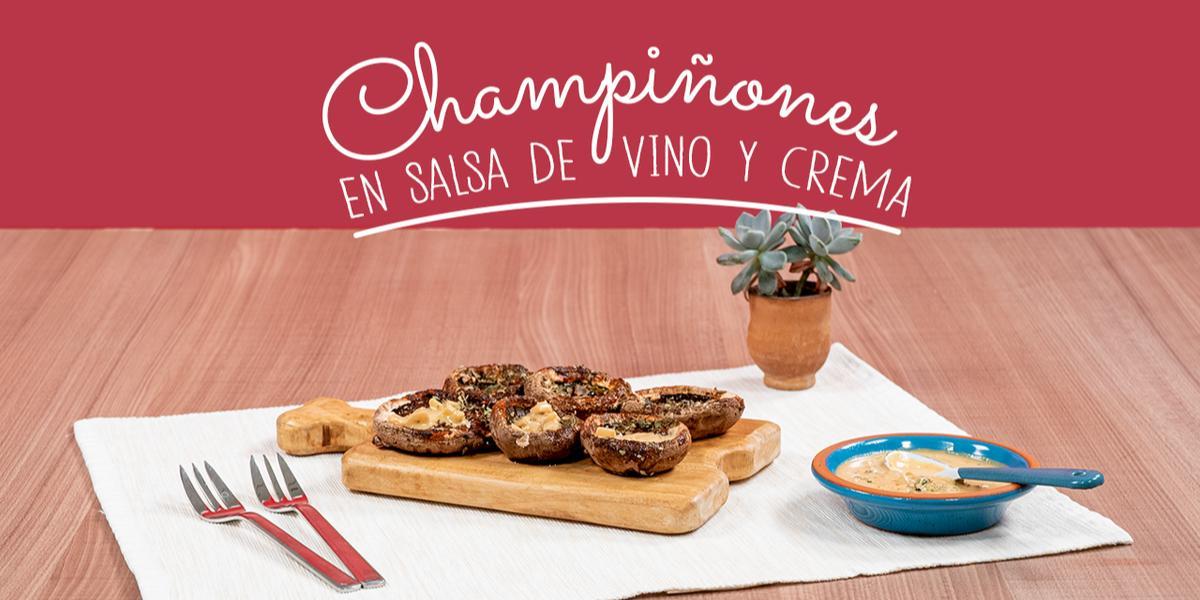 CHAMPIÑONES EN SALSA DE VINO Y CREMA