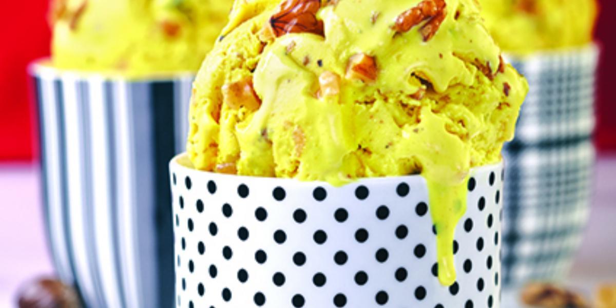 Walnut, Saffron And Nutmeg Ice Cream
