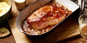 Schweinebraten in Honig-Pinienkern-Sauce