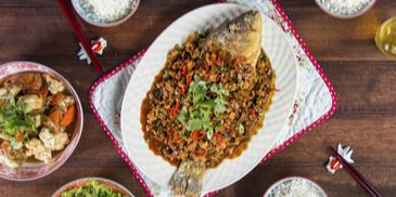 Appetizing Fried Fish With Preserved Choy Sum In Minced Chicken Sauce