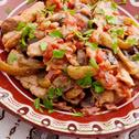Пилешко бяло месо със зеленчуци на тиган