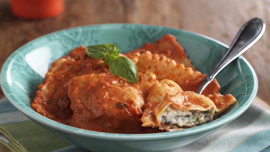 Mushroom & Mascarpone Ravioli in Creamy Tomato