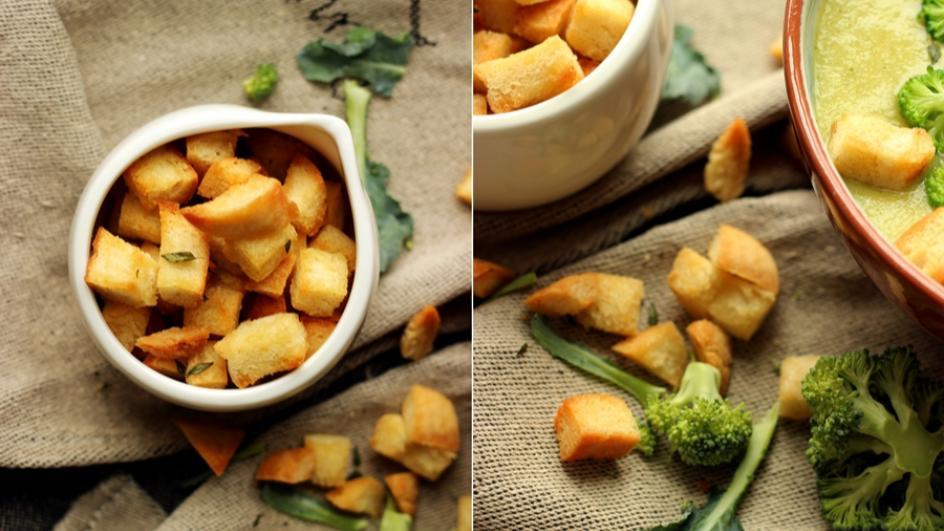Zupa krem brokułowa z grzankami czosnkowymi