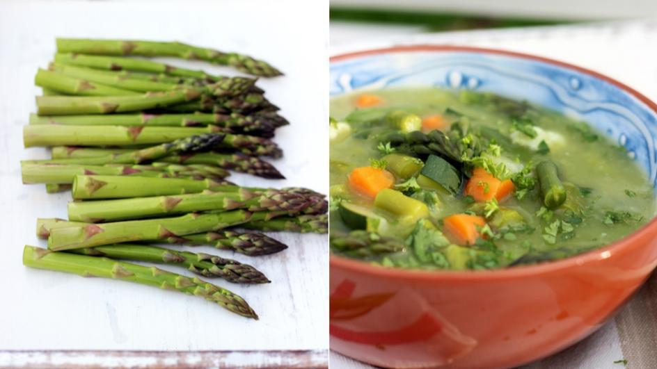 Zupa z zielonych szparagów z warzywami