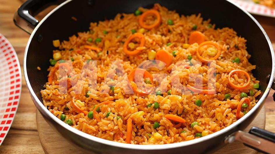 Riz au gras aux rondelles de carottes