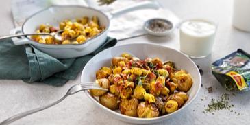 Bulvės su briuseliniais kopūstais ir šonine