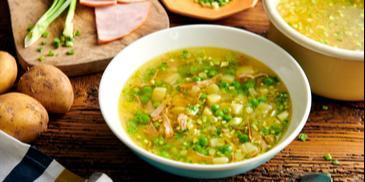 Zupa z wędliny i zielonego groszku