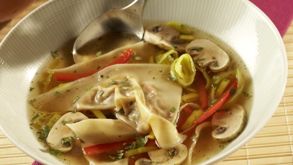 Vegetarische Wantan-Suppe