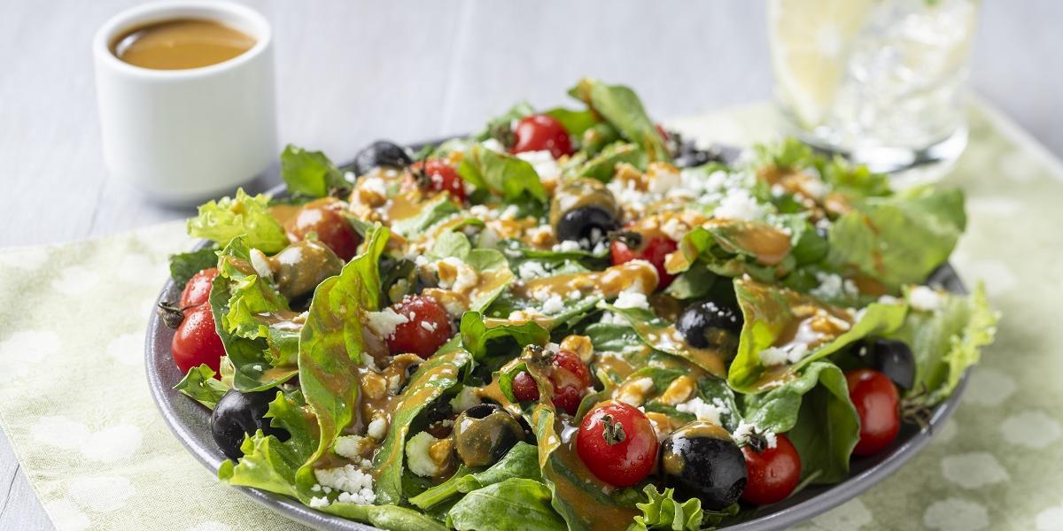 Receta saludable de ensalada con aderezo de mostaza