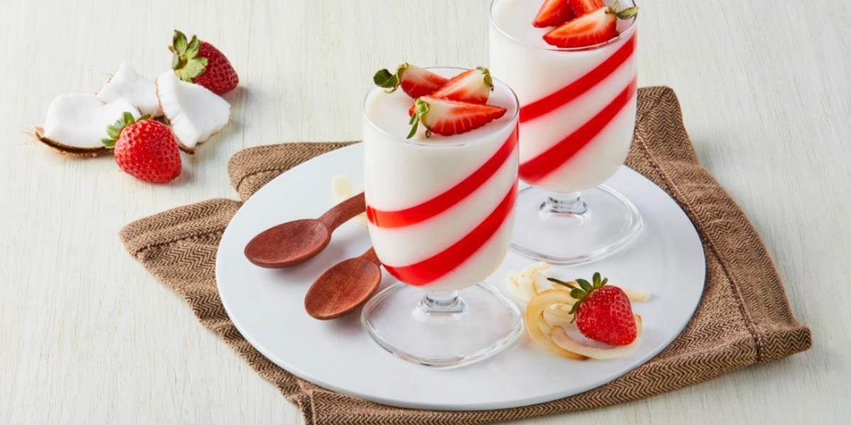 Gelatina de fresa y coco