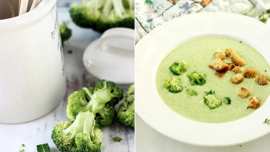 Zupa krem z brokułów i pora z ziołowymi grzaneczkami i parmezanem