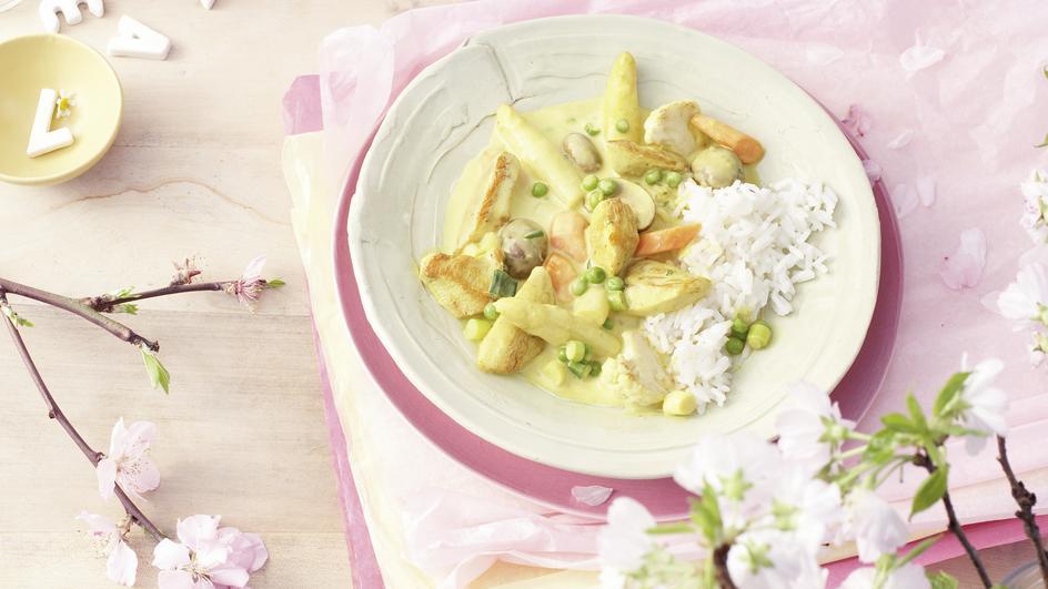 Hähnchen-Spargel-Pfanne mit Curry