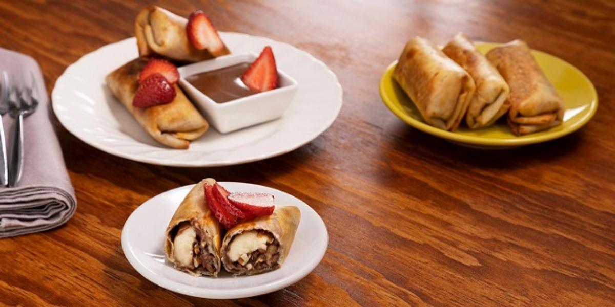 Rollitros de plátano con chocolate