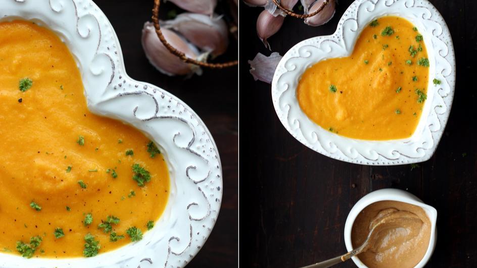 Zupa marchewkowa z masłem orzechowym