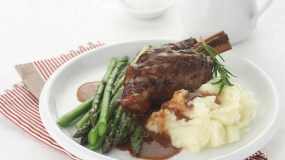 Slow-Cooked Red Wine & Rosemary Lamb Shanks