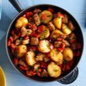 Schnelle Kartoffel-Pfanne mit Schweinefleisch