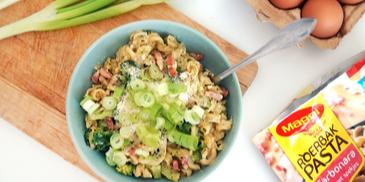 Pasta carbonara met spekjes en broccoli