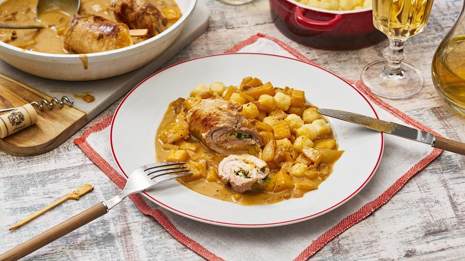 Schnitzelröllchen mit Mango und Mozzarella