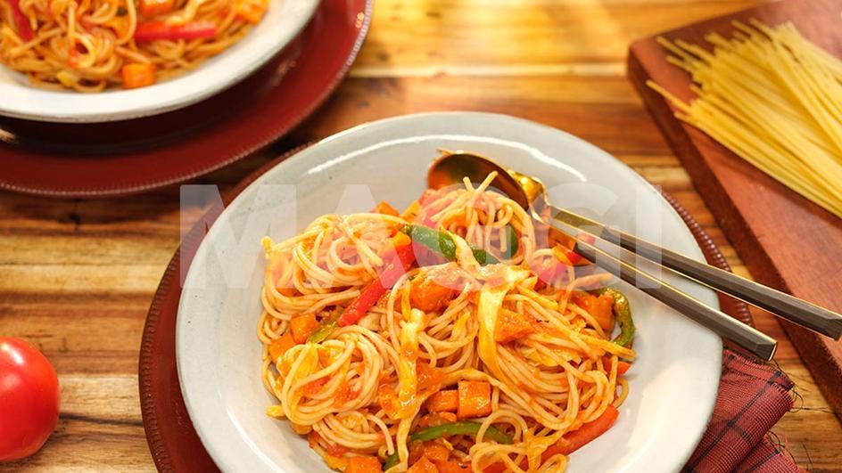 Spaghetti jollof au gras