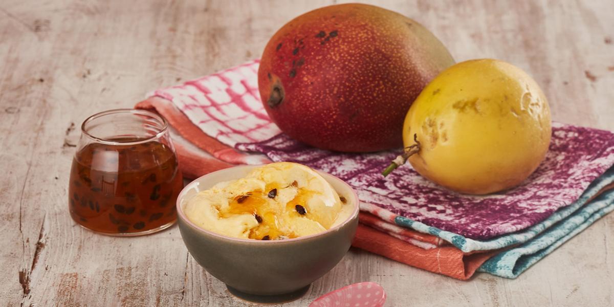 Postre Helado de Mango y Maracuyá
