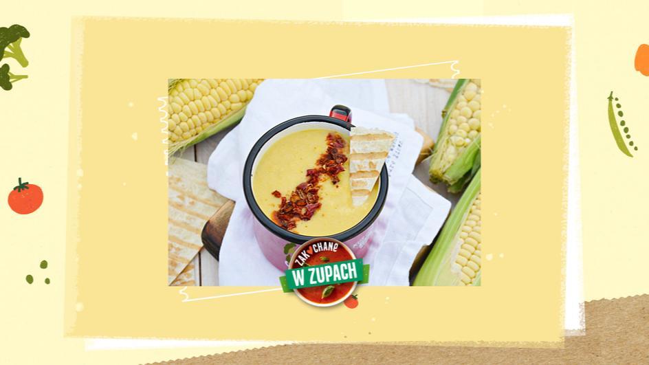 Zupa krem z kukurydzy z grillowaną tortillą