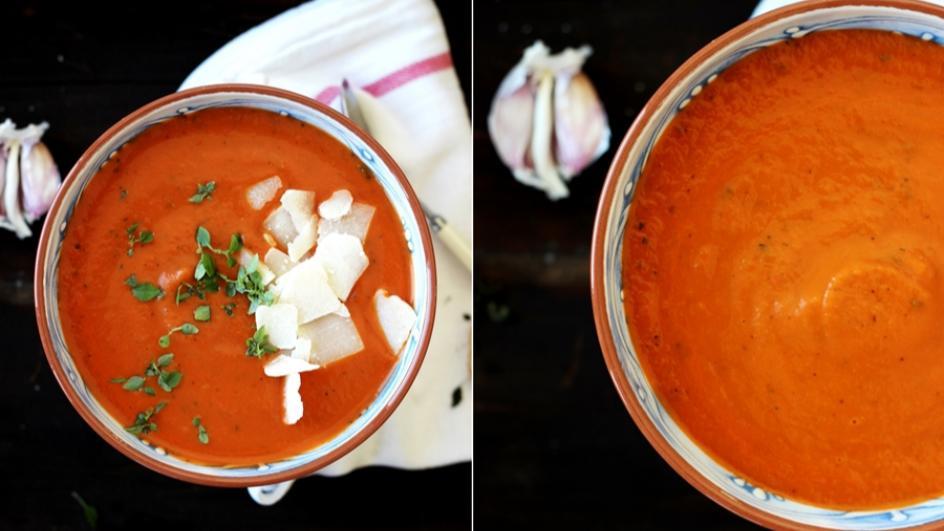 Zupa krem z pieczonej papryki i bakłażana z płatkami parmezanu