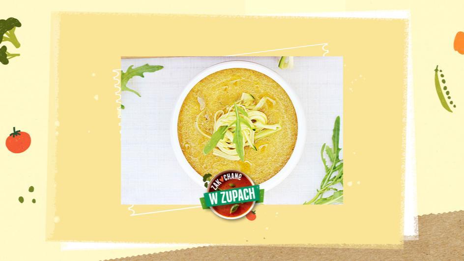 Surowa zupa witariańska z cukiniowym spaghetti