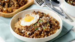 Magical Quick Sisig Rice with Crispy Egg