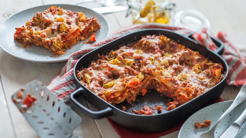 Lasagne mit Paprika und Feta