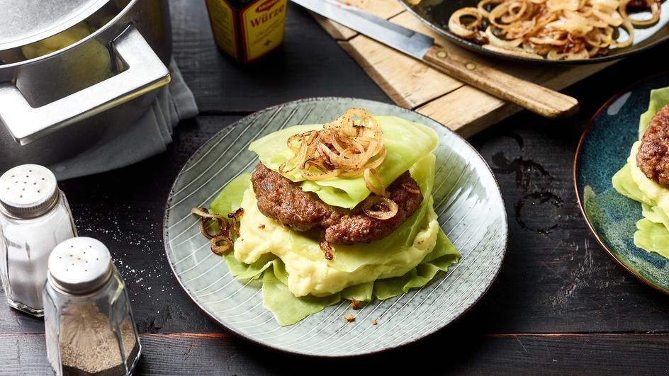 Kohlrouladen-Burger-Millefeuille