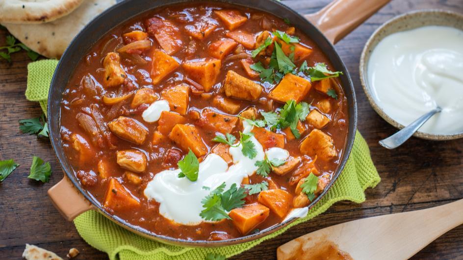 Süßkartoffel-Hähnchen Curry