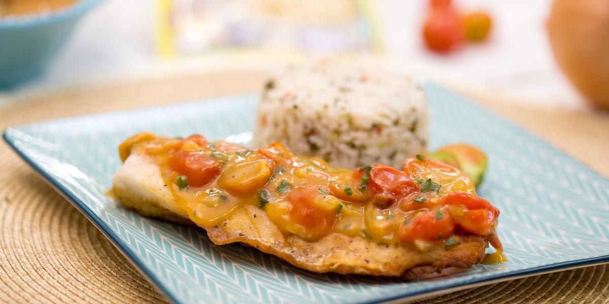 Filete en Salsa de Mariscos y Coco