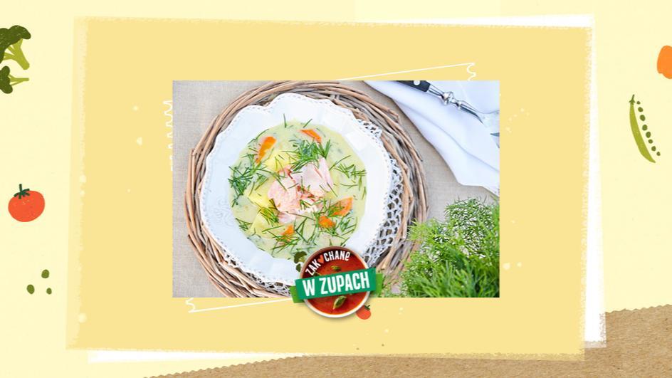 Zupa koperkowa z pieczonym łososiem